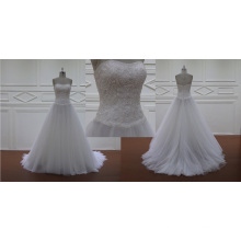 Organza Fabric Strapless Beaded Lace Wedding Dress