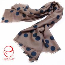 Diseño clásico DOT de seda de cachemira cálida bufanda larga