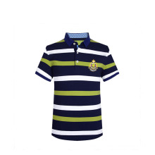 Summer 2016 Stripes 3D Embroidery Rib Collar Side Vent Custom Polo T Shirt Men