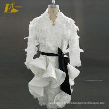 Ed Nupcial Nueva Colección manga larga cubierta de encaje vestido Appliqued mujer de la moda