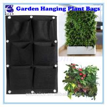 6 Pocket flower pots planter grow bag wall mount hanging seed planter