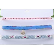 Drei Reihen von Multi Color Stoff lieben Choker Halskette