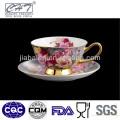 Taza de té del café del diseño único de China de hueso y platillo