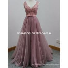 2017 vestido de largo con cuentas de la mano Vestido largo de cola larga con cordones vestidos de novia de cola profunda correa en V-cuello vestido de noche atractivo