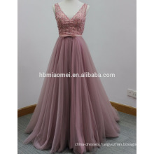 2017 hand beaded Small trailing dress long design laced tail wedding dresss deep v-neck strap sexy evening dress