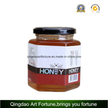 Hexagon Glass Jars for Food and Honey with Metal Cap