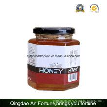 Hexagon Glas Gläser für Essen und Honig mit Metall Cap