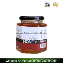 Tarros de vidrio hexagonal para alimentos y miel con tapa de metal