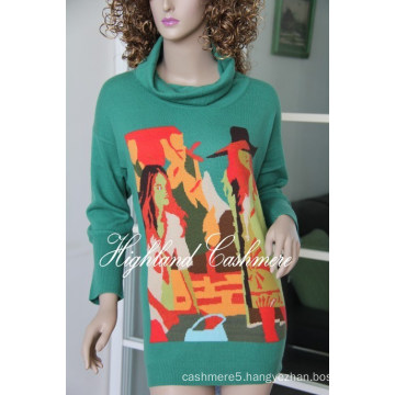 Ladies′ Cashmere Big Turtle Neck Pullover with Intarsia CIP1102L