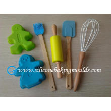 6pcs Non-stick Silicone Bakeware Set For Kids , Fda Green Silicone Pastry Tools