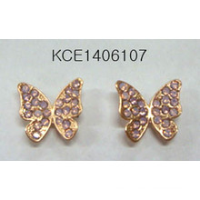 Metal Butterfly with Diamond Earrings