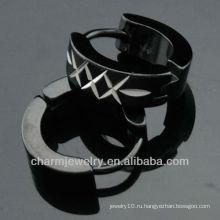 316 L нержавеющая сталь серьги черные серьги Мода клип серьги обруч мужские ювелирные изделия HE-099