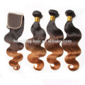 Drop Shipping Wholesale Brazilian Human Hair Ombre Color Hair Bundle With Closure