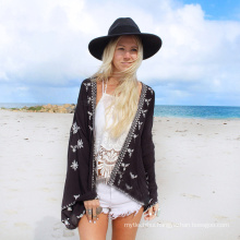 Hot selling beachwear cardigan women cover up black printing chiffon beach towel pareo