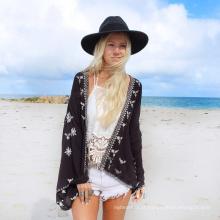 Venda quente beachwear cardigan mulheres encobrir impressão preto chiffon toalha de praia pareo