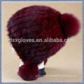 Moda Lady Knitted Mink Fur Caps e Chapéus Com bolas