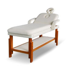 Wooden Stationary Massage Table in Square Corners, Made of Beech Wood and PVC Leather