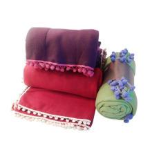 Manta de lana pompón de flecos (SSB0144)