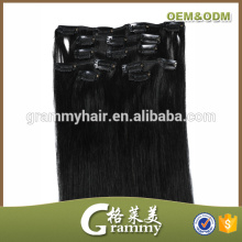No tangle no shed factory wholesale cheap remy kinky straight clip in hair extensions