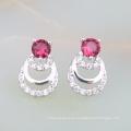 nuevos productos de alto margen en el mercado diseños de joyería de rubí indio pendientes de latón nupcial chapado en oro