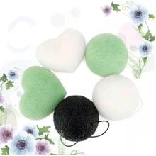 Губка с натуральным растительным волокном и конжаком для чистки лица