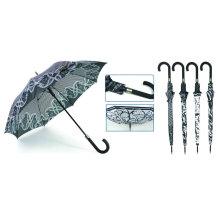 Parapluie de design noir et blanc automatique droit (YS-SA23083916R)
