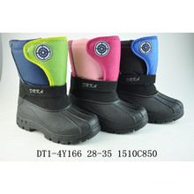 Black Nylon Oxford Plush Snow Boots