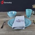 Kundenspezifische runde Form Keramik Geschirr / Geschirr Platte Set