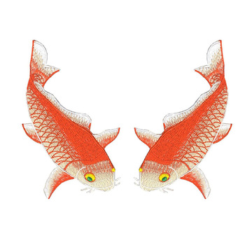 Koi Fish Broderade Patches Applique för plagg