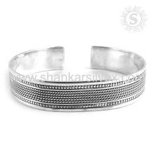 Perseverante brazalete de plata lisa últimas ofertas al por mayor 925 joyería de plata esterlina joyería de plata hecha a mano
