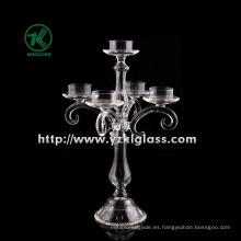 Sujetador de vela de vidrio transparente de BV, SGS (h: 35cm)
