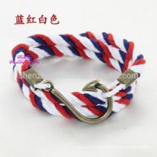 Großhandelsart und weise DIY Armband mit Haken-Haken-handgemachtem Seil-Armband Machen Sie Ihre eigenen Edelstahl-Armband-Schmucksachen