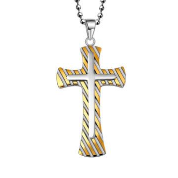 Colgante de joyería de la cruz de la cebra del acero de oro de Hdx