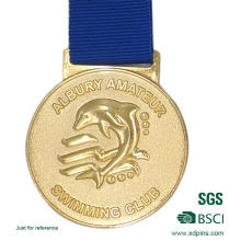 Custom Metal Gold Sports Medal with Ribbon