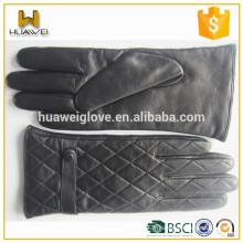 Gants en cuir de peau de mouton authentiques en dentelle d'hiver en laine avec agencement