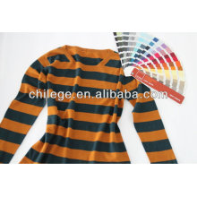 Fashion cashmere stripe scoop neck sweater for lady