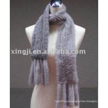 bufanda de piel de visón de punto