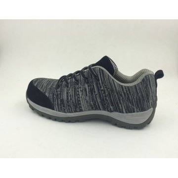 Novo projetado Flyknit tecido cor cinza sapatas de segurança (16063)