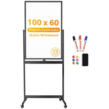 Magnetic Mobile White Board Double Sided Black Frame
