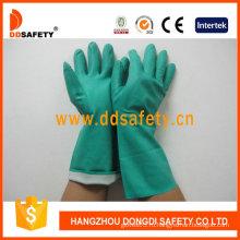 Высокого комфорта химические стойкие перчатки, Нитрила перчатки зеленый (DHL445)