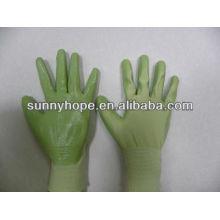 Luvas revestidas com nitrilo verde 13G