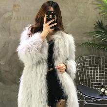 Хороший Поставщик роскошь реальный мех енота пальто