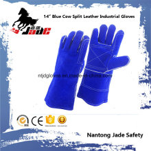 "14 ""Blue Cowhide Split Leather Welding Industrial Hand Safety Work Gloves"
