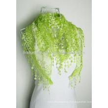 2014 Vente en gros de soie de soie en élasthanne pendentif en dentelle châle, foulards