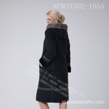 Winter Hooded Merino Shearling Coat For Lady