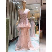2017 Pink Arabian Flouncing exquisito de los granos sirena vestidos de noche