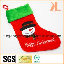 Qualitätsstickerei / Applique Samt Happy Christmas Schneemann Style Strumpf für Dekoration