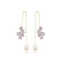 E-717 xuping hot selling fashion flower and ball design 14k gold color zircon ladies drop earrings