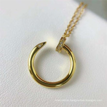 Rose Gold Silver Gold Plated Curved Nail Pendant Necklace Bling Rhinestone C Famous Brand Necklace