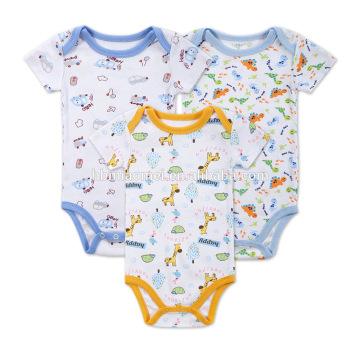 2017 New Born Organic Baby Clothes Set Cotton Printed Cartoon Baby Romper Animals